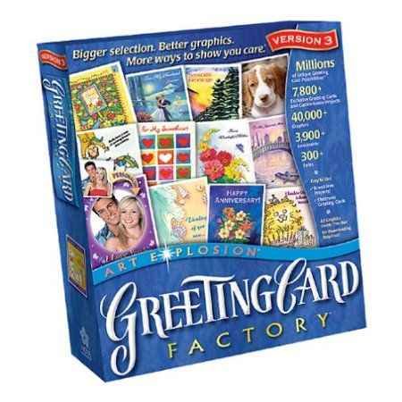 Greeting Card Factory, Version 3    Dozens of creative projects to choose from - Cards, announcements, invitations, stationary, envelopes and much more. Gorgeous cards in 3 easy steps
