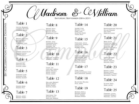 Sample Seating Chart For Wedding Reception Hgvi