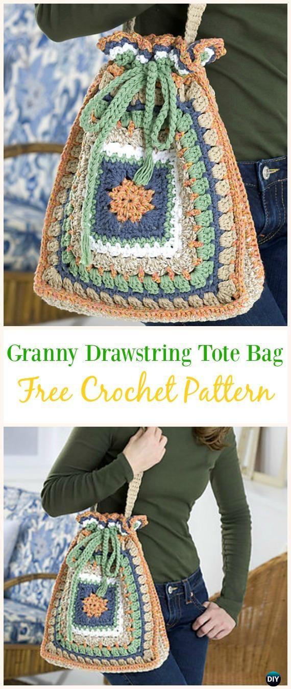Granny Drawstring Tote Bag Free Crochet Pattern -#Crochet Drawstring #Bags Free Patterns