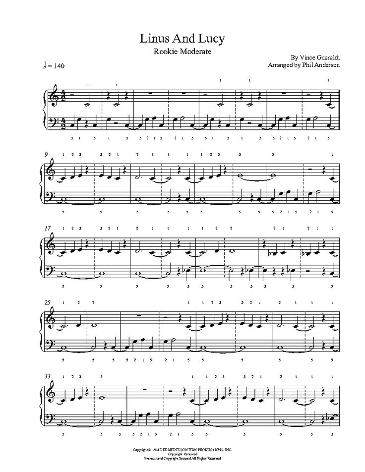 Linus and Lucy by Vince Guaraldi Piano Sheet Music   Rookie Level