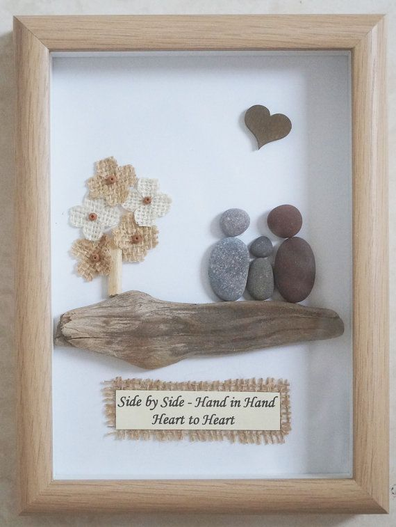 This is a beautiful small Pebble Art framed Picture of a Family - Side by Side  handmade by myself using Pebbles, Driftwood and small decorative Flowers  Size of Picture incl Frame : approx. 20cm x 15cm  Thanks for looking Doris