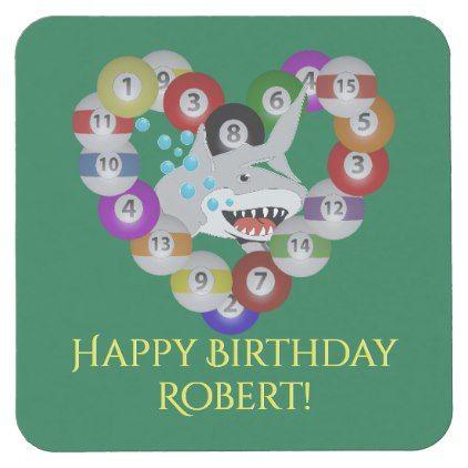 Heart of Billiards Pool Shark Birthday Square Paper Coaster - birthday gifts party celebration custom gift ideas diy
