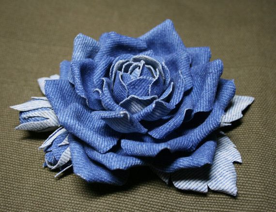 Blue denim roses brooch by leasstudio on Etsy