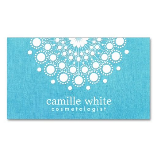 Cosmetology Elegant Circle Motif Turquoise Blue Business Card Template. I love this design! It is available for customization or ready to buy as is. All you need is to add your business info to this template then place the order. It will ship within 24 hours. Just click the image to make your own!