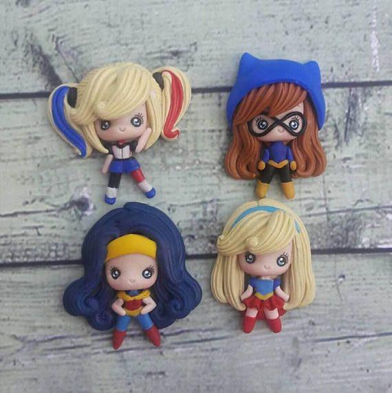 12 PC Super Heroes chica arcilla polimérica