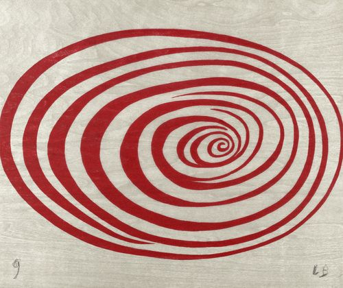 Untitled from 'Spirals' (2005) by French-born American artist Louise Bourgeois (1911-2010). One from a suite of twelve woodcuts, 4 x 16.625 in. via MoMA