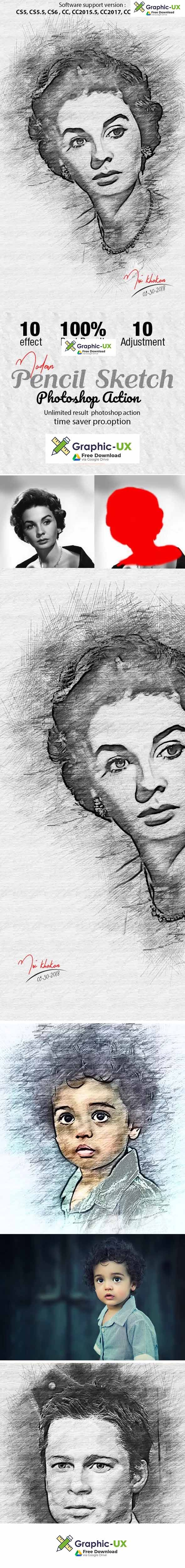 Modern Pencil Sketch Photoshop Action Graphicux Sketch Photoshop Photoshop Actions Free Photoshop Actions