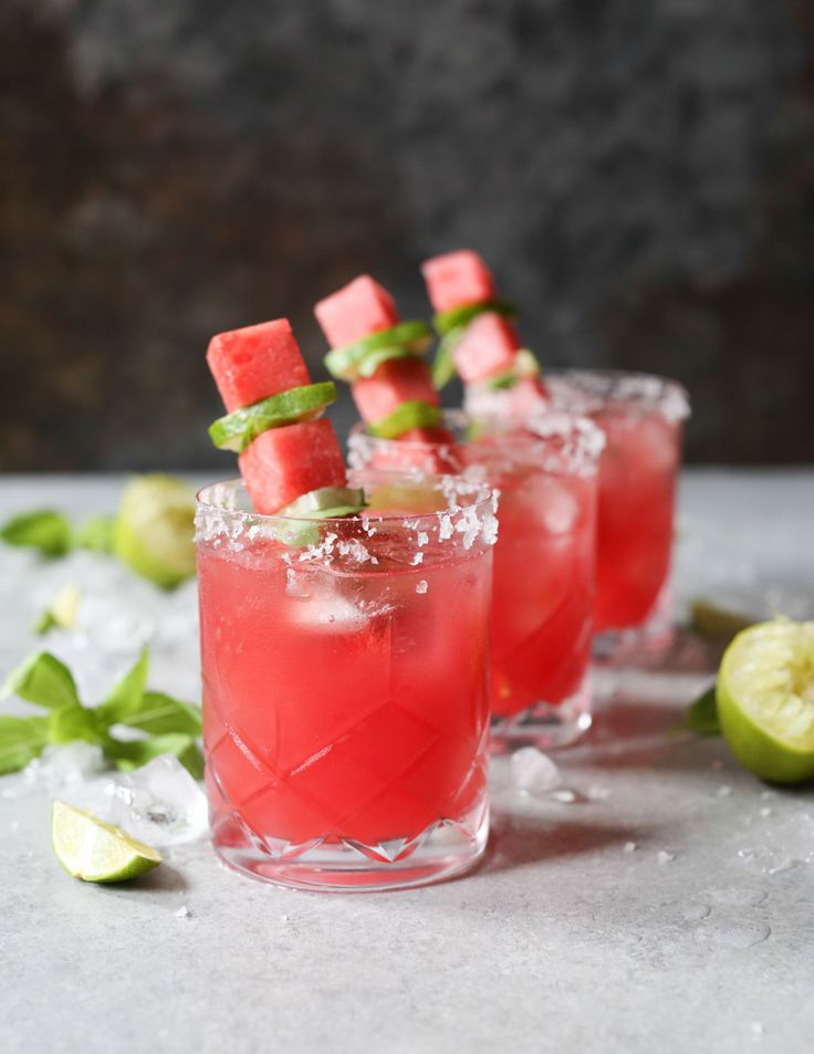 Watermelon-Basil Mezcal Margarita. This perfectly balanced marg is tart-sweet with just the right amount of mezcal smoke. via www.domesticate-me.com