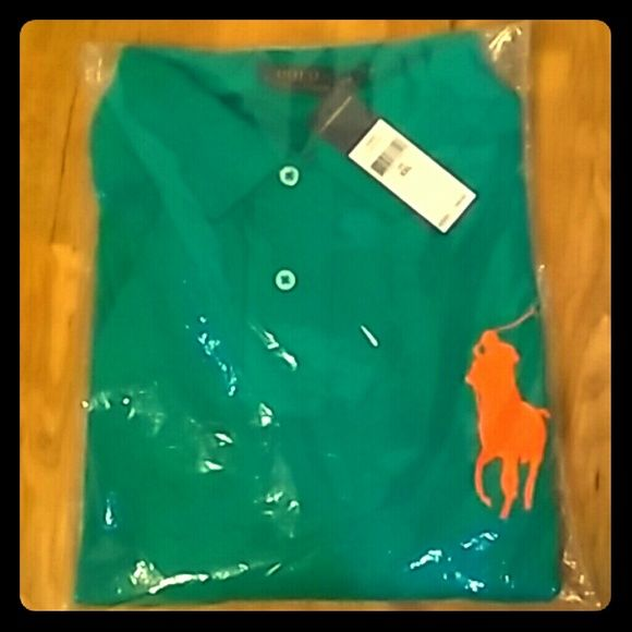Authentic MENS Ralph Lauren Polo. Teal polo with the orange polo horse ??. Never been worn. Still has tags and is still wrapped in plastic from being shipped to my house. Size MENS XXL. Polo by Ralph Lauren Tops