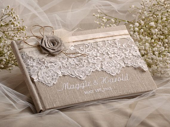 Wedding Guest Book, Guestbook, Lace, Shabby Chic Natural Linen Lace, custom coloes , emboroidery names
