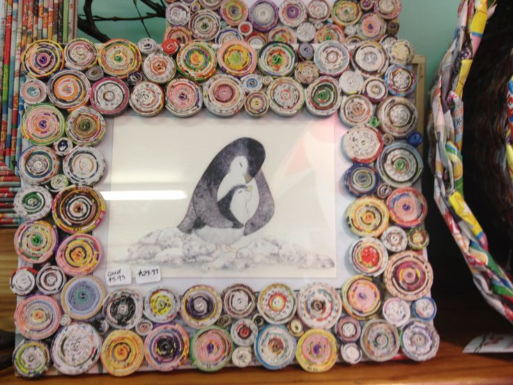 Recycled paper frame featuring cute penguin card from the illustrator series - Love this duo.  We have lots of recycled products at The Green House Cairns.