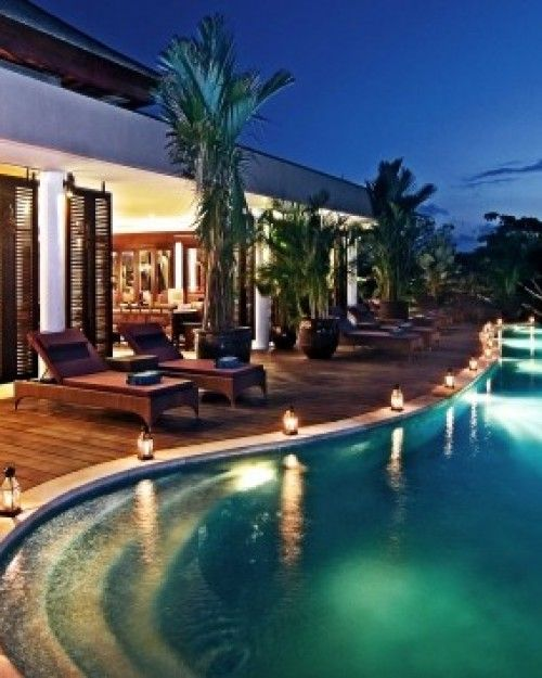 Gending Kedis    Bali, Indonesia  As well as the private plunge pools in each villa, there's a large estate pool and sundeck. #Jetsetter #JSSunrise