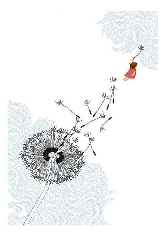 Freedom dandelion whimsical blue white illustration, via Etsy.