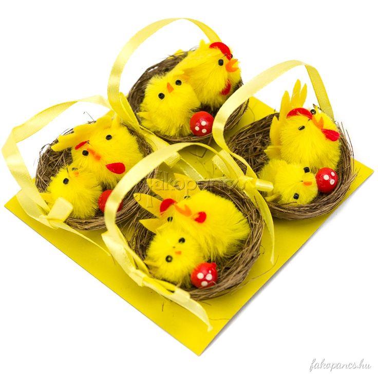 Dekoráció :: Húsvéti dekoráció :: Csibék füles kosárban - Húsvéti dekoráció - Fajáték és Játékbolt - Online Játékbolt - Játék Webáruház!