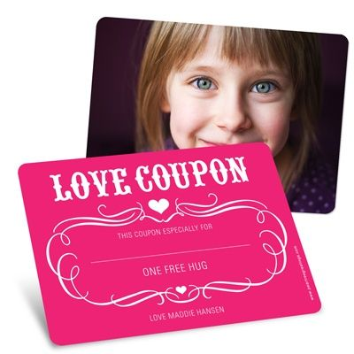 Want a deal? Give out free hugs with this love coupon Valentine's day greeting card for kids.
