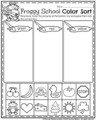 Back to School Preschool Worksheets - Froggy School Color Sort.