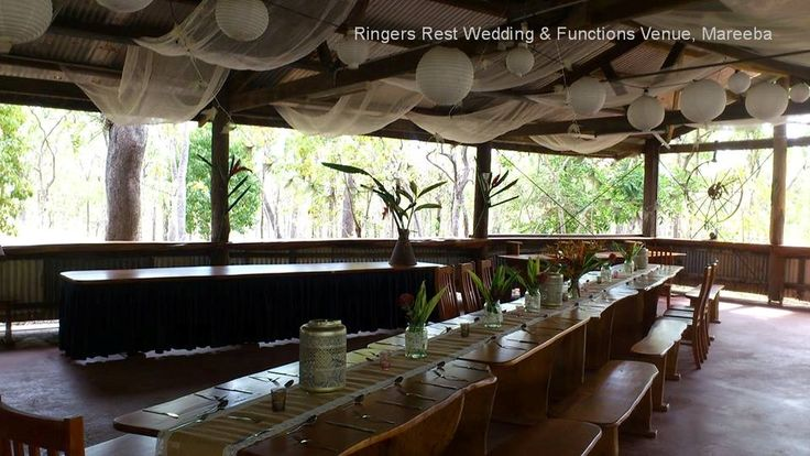 You can hire from us: Black table skirt (for bridal / buffet table); chiffon fabric in rafters; Lantern lighting; glass jars for flowers; hessian table runners