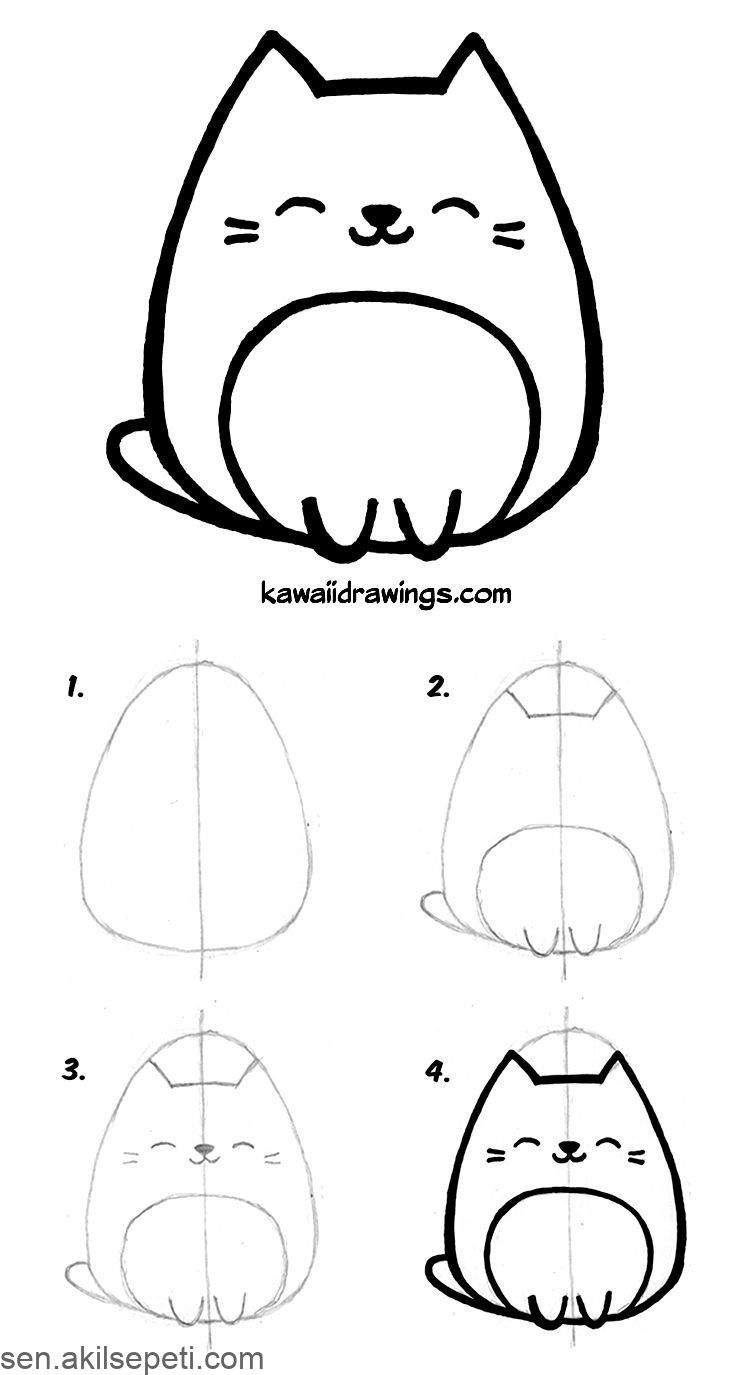 How To Draw Kawaii Cat In 4 Easy Steps Kawaii Drawing Tutorial