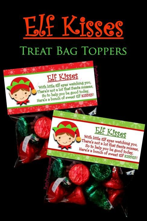 Elf Kisses - Treat Bag Toppers by http://PartyPrintz.etsy.com