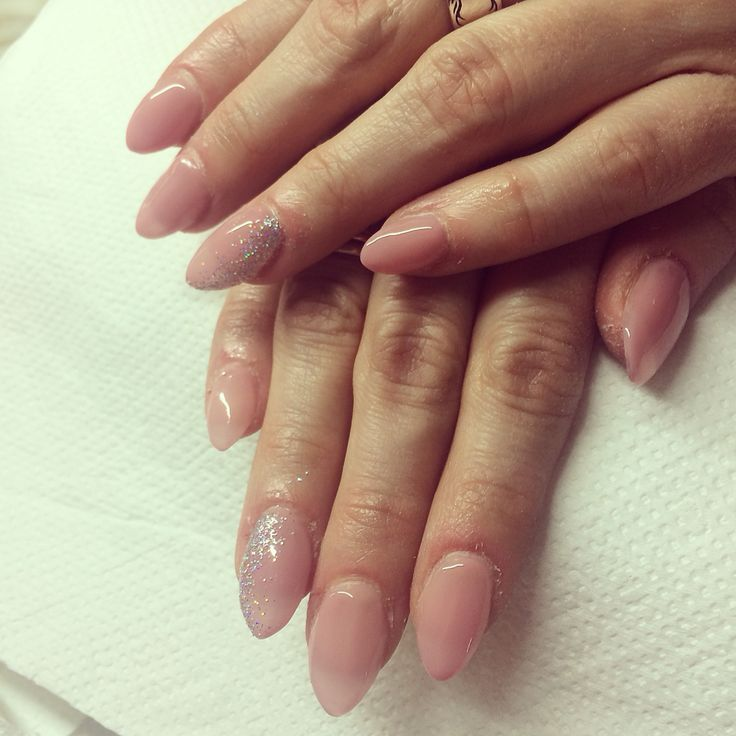 Nude nails natural look nails and little bit off sparkle  Gel extensions
