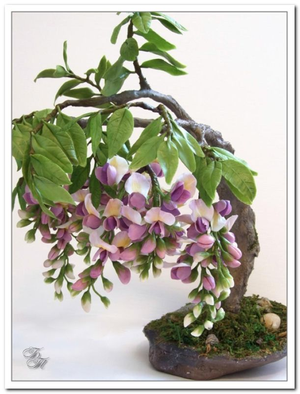 Wisteria tutorial in Russian but step by step pictures. Would be good to do with flowerpaste