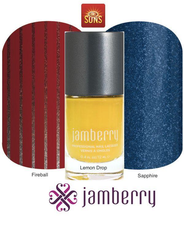 Jamberry Suns Inspiration - Fireball, Lemon Drop and Sapphire
