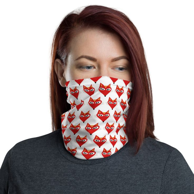 Fox print neck gaiter face mask face scarf mask for adults