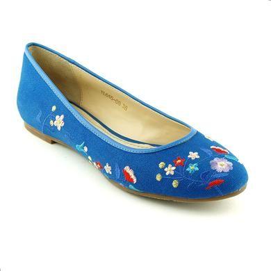 Pret initial: 349.00 lei, 50% reducere. Balerini albastri din material textil, model cu broderie cu flori
