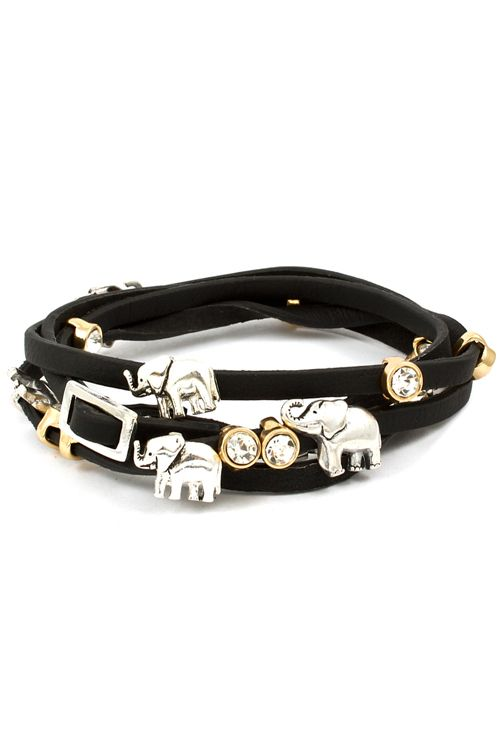 Elephant Charm Bracelet in Jet