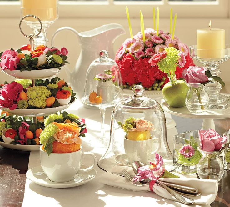 Buffet Table Decorating Ideas Pictures party buffet table decorating ideas on the patio stretched two draped and decorated buffet Glass And Floral Centerpiecessome Great Ideas