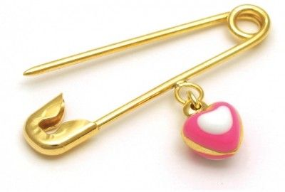Pink & White Heart Golden Pin $114.95 at the Greek Wedding Shop ~ http://www.greekweddingshop.com/
