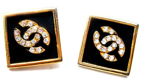 logo clip earrings enamel crystals designer 60  ies от ODMIVINTAGE