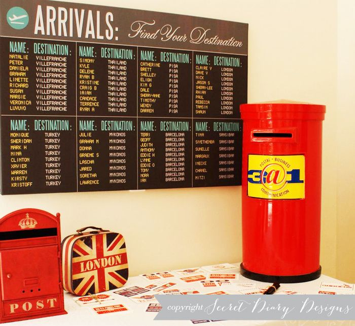 Arrivals screen seating chart, what a clever idea! http://reflectivebride.com