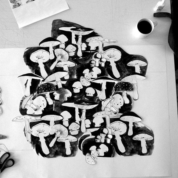my mushrooms textile project - work in progress :)