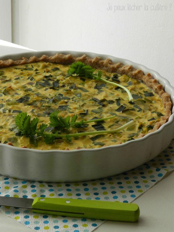 Tarte poireaux (pâte à la farine complète, flocons d'avoine et huile d'olive)