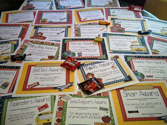 Candy Awards for end of year rewards. 24 awards color and black & white versions available! (TPT)