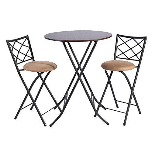 Furniturer Foldable Dining Set 3 Piece Dining Table Sets Home Bar