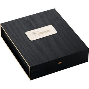 Belgio 2-Piece Wine Ensemble. Two-piece set includes stainless steel waiter corkscrew and classic bottle stopper with rubber grip presented in a contemporary, retail-inspired wooden storage box. FDA compliant. 1-piece white gift box.