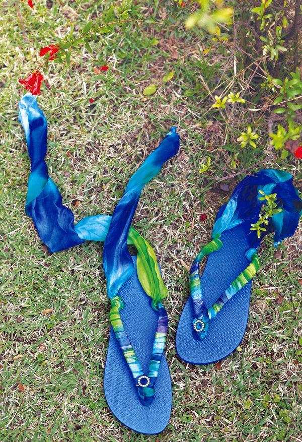 handmade flip flops gladiator wrap sandals blue ribbons roman style