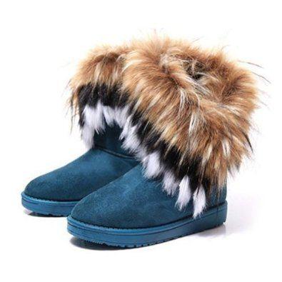 Zlyc Women's Bohemian Winter Furry Boots With Long Fur 12