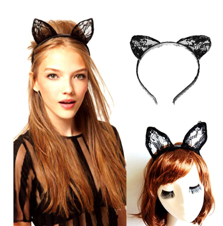 Sexy Lovely Lace Cat Ear Horn Hairband Headband Lady Gaga Alice in Wonderland
