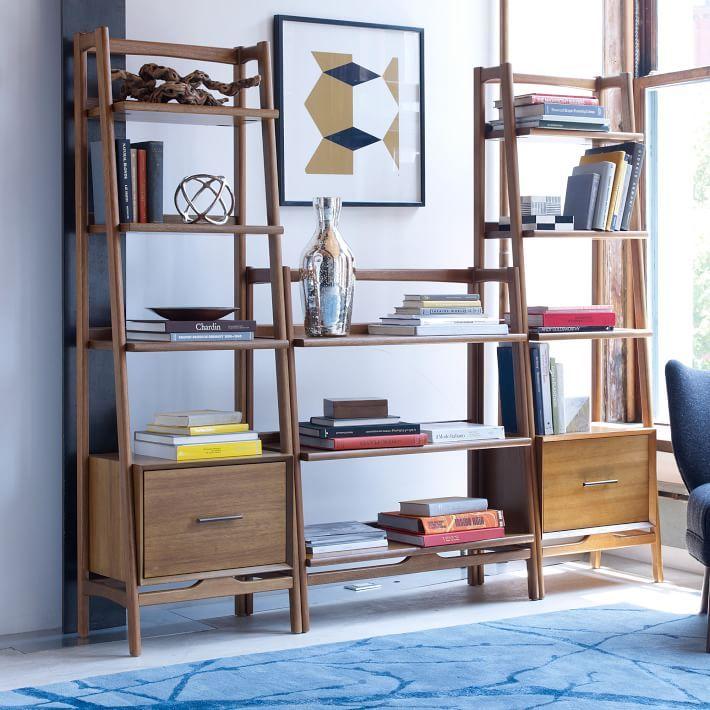 midcentury bookshelf low wide