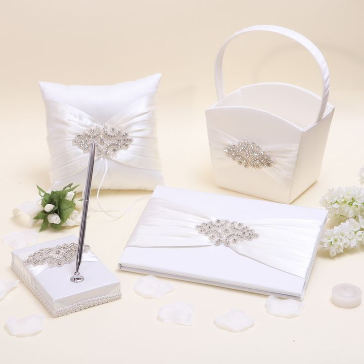 ==> [Free Shipping] Buy Best Beige Wedding Collection Set Bridal Satin Ring PillowFlower BasketGuest BookPen Casamente livre d'or Mariage Party Supplies Online with LOWEST Price | 32375935625
