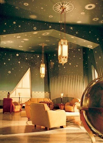 Huan Trip room's celling from Aviator movie. Art deco. USA.