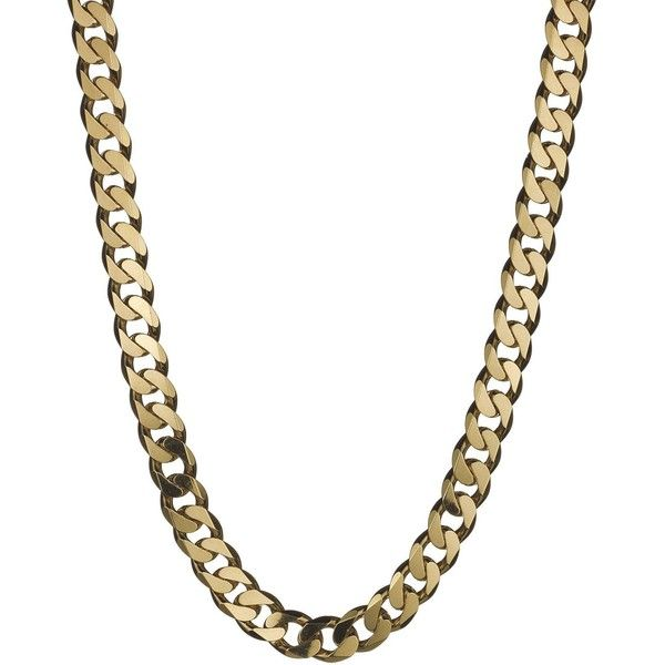 Love Gold 9 Carat Yellow Gold Approx 4Oz Solid Diamond-Cut Curb Chain ($4,190) ❤ liked on Polyvore featuring jewelry, necklaces, chunky chain necklaces, gold chain necklace, diamond chain necklace, diamond necklace and chain necklaces