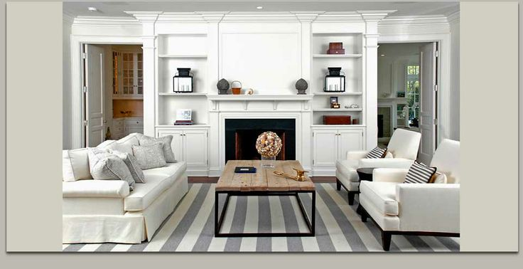 Striped carpet: Cottages Living Rooms, Coffee Tables, Blue Interiors, White Sofas, Living Rooms White, Living Rooms Rugs, Stripes Rugs, Cozy Living Rooms, Gray Stripes