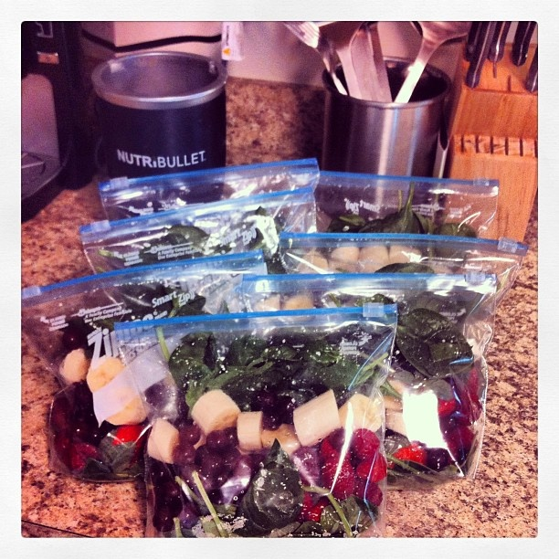 Pack a weeks worth of ingredients for the nurtibullet. Freeze. Thaw one in fridge each night and blend in the morning.