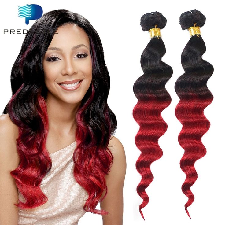 (100.26$)  Watch more here - http://aiis7.worlditems.win/all/product.php?id=32699448789 - High Quality Dark Roots Red Ombre Brazilian Loose Wave Human Hair 3 Bundles Two Tone 1B Red Virgin Weave Hair Extensions