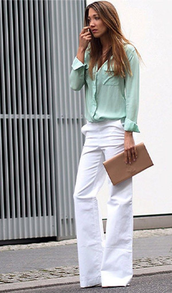 White Blouse Can Be Boring For Your Chic Summer Work Outfits Wardrobe Wear Edgy Mint Green Silk Blouse With Casual Work Outfits Fashion Clothes Women Fashion