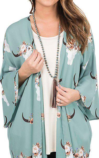 Peach Love Women's Sage Skull Print Long Bell Sleeve Kimono   Cavender's